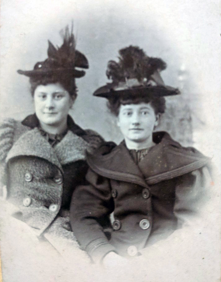 Mrs. Gunn (left) and Grandma Christine (right), were undoubtedly the height of fashion in Itasca Country at the turn of the century. Aunt Carolyn seems to recall that they made their own hats.