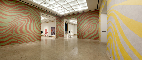 SOL LEWITT: WALL DRAWINGS 790A AND 790B: IRREGULAR ALTERNATING COLOR BANDS   Cranbrook Art Museum Ongoing (Installed November 2011) Photo: PD Rearick