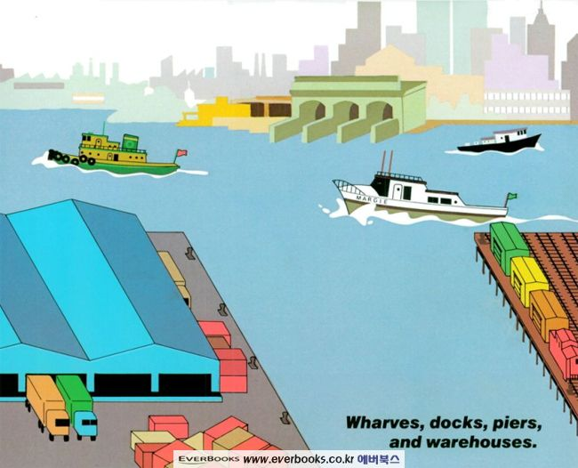 This spread from Donald Crews' book Harbor is set at a Brooklyn cargo terminal, looking toward the Staten Island Ferry terminal at the bottom of Manhattan.