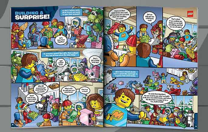A sample spread from a  Lego Club  magazine.