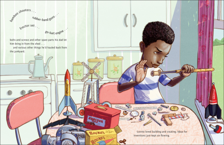 I predict our kitchen will look remarkably similar to this one in a few years. This is a spread from one of our must-reads, Whoosh! Lonnie Johnson's Super-Soaking Stream of Inventions, a biography of the NASA scientist who invented the Super Soaker. Written by Chris Barton and illustrated by Don Tate.