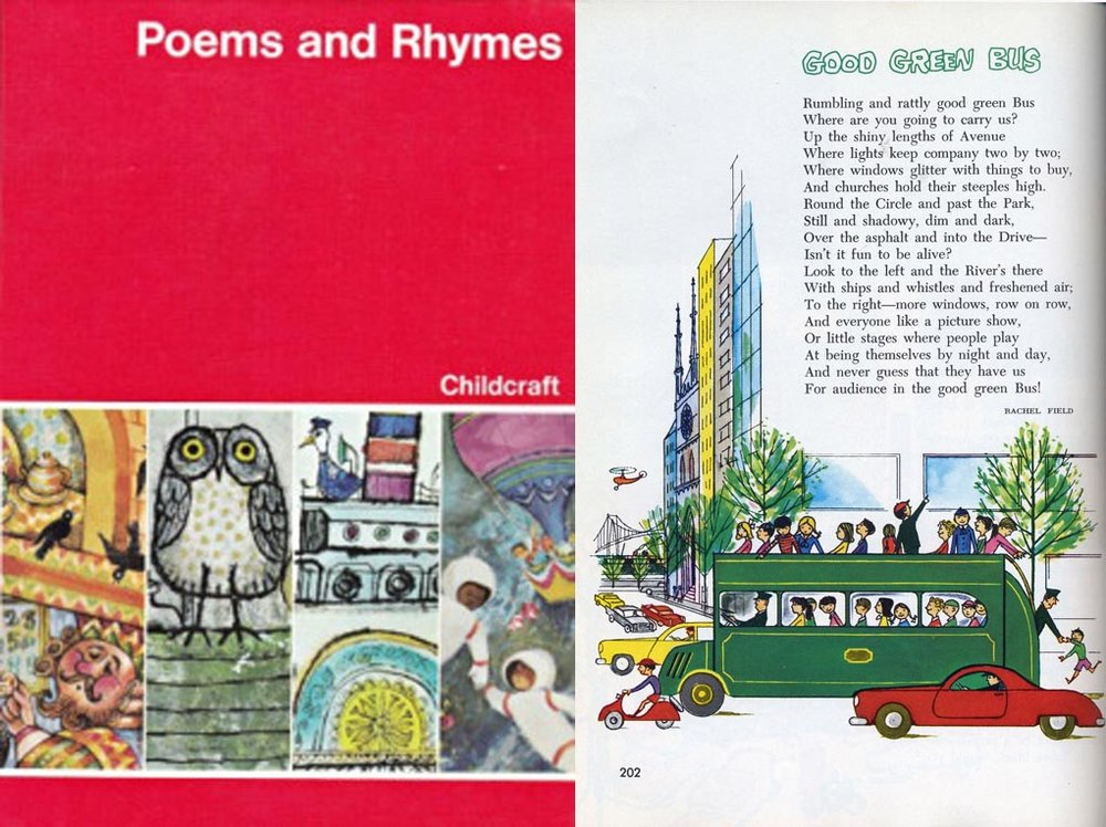 "Cover and page from the  Poems and Rhymes  volume of the Childcraft encyclopedia. I first ran across this series when I was behind a mother at a thrift store checkout who was enthusiastically buying the whole set for her elementary-age daughter, telling her ""We had this when I was young!"" Definitely worth checking out the series."
