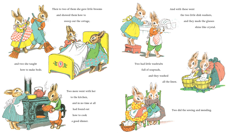 The country bunny doesn't play--she delegates the housework to her children!