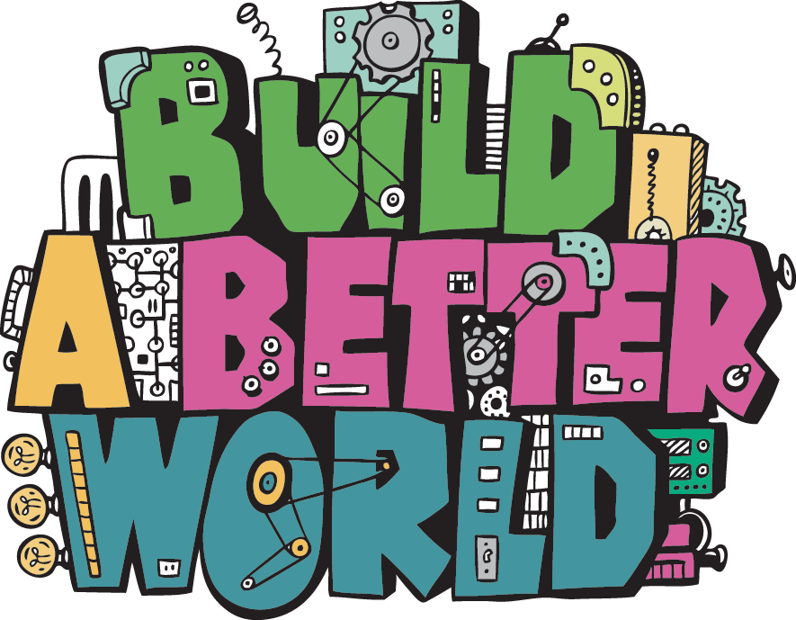 """Build a Better World"" is the theme for many summer 2017 public library reading programs. I love   this logo, from the Townsend, MA public library's program  , because it reminds me of the Schoolhouse Rock! graphics."