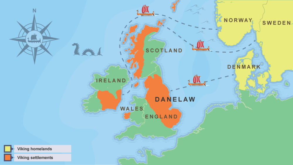 This map, from the BBC Bitesize page    Who Were the Vikings   , shows Viking settlements in Scotland, England, and Ireland.