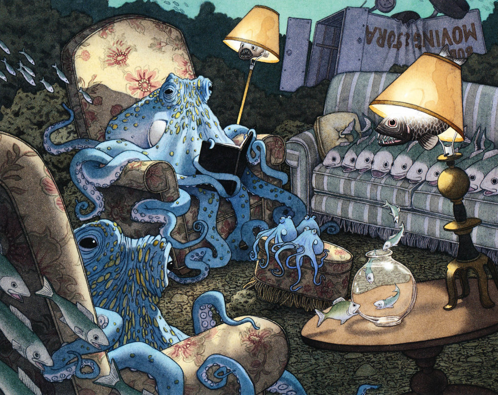 One of the mysterious camera's images, from the David Wiesner book  Flotsam .