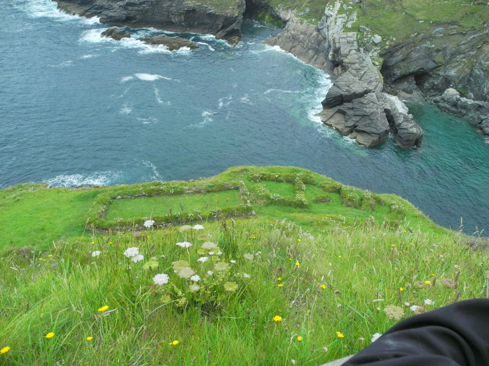 Looking down on excavated Dark Age settlement on Tintagel Island.