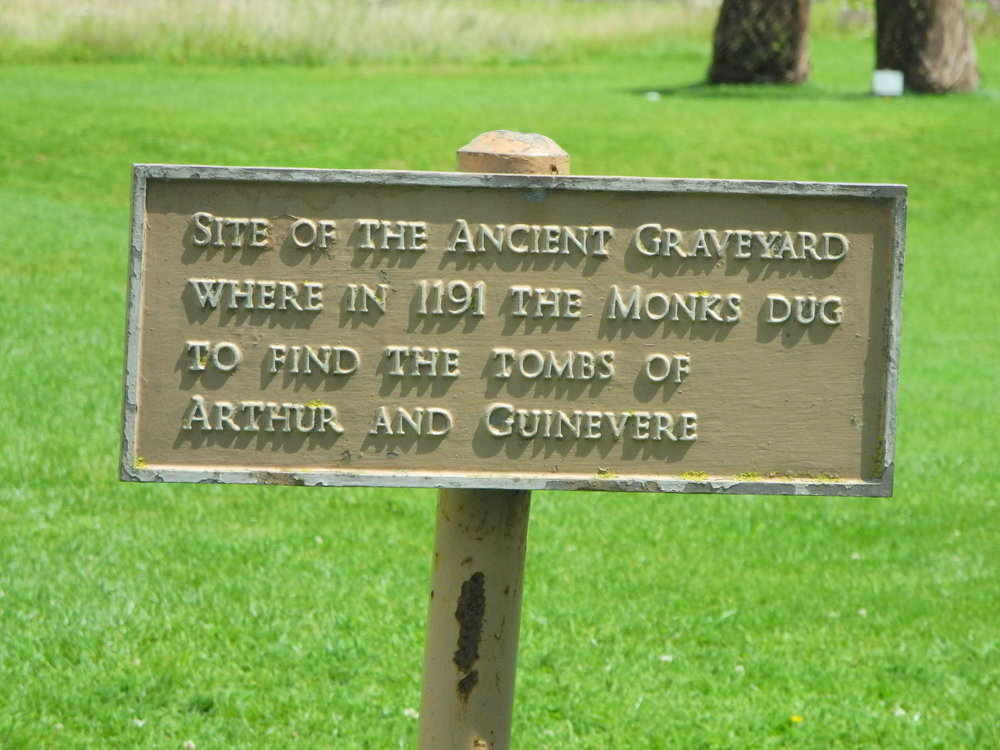 Sign at Glastonbury, possibly mythical Avalon and King Arthur's burial site.
