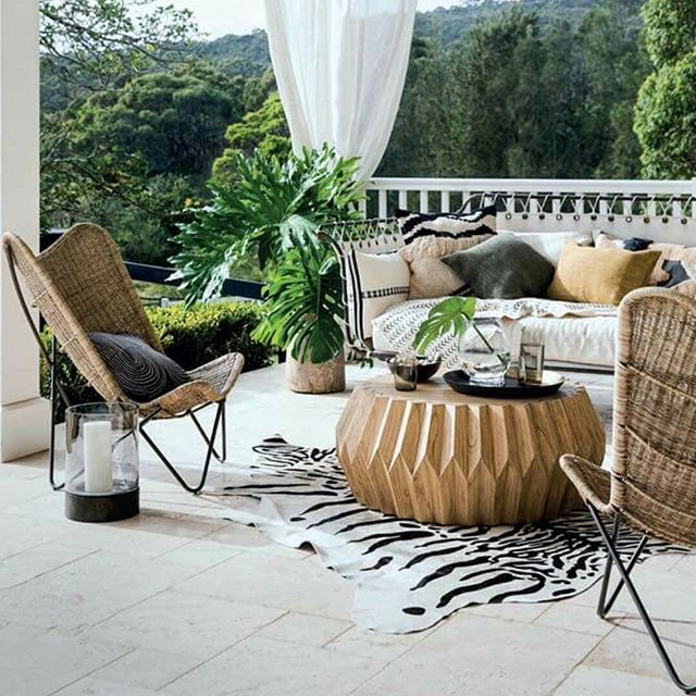 How great does this #outdoor setting look by @homebeautiful #magazine using @uniqwacollections Tobago butterfly #chairs and natural swaziland coffee table in their 2018 #style #forecast! Want to see these in person? Contact us to visit our showroom if you are a #designer or head to @twopairshomeware to order for yourself.  #exotic #tribal #earthy #african #designstyle  #architects #kenttown #showroom #adelaide #askus #wholesale #designers #stylists #decorators