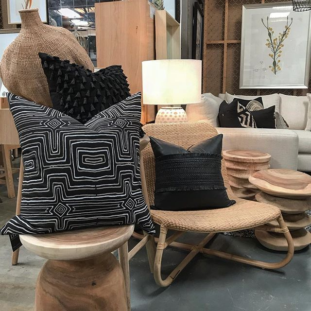 Warming up our showroom on a Monday morning are the Kaysers beach occasional chair along with the 'ripple' and 'stack' stools also the Akoni side table all from @uniqwacollections  To add even more deliciousness we have the black leather voyager, the Dreamtime black lounge cushion and the Tassel mini black cushion from @bhdaus Make an appointment to come and see our extensive range of stunning homewares, furniture and artwork today. X  #interiordesign #adelaide #adelaidestyle