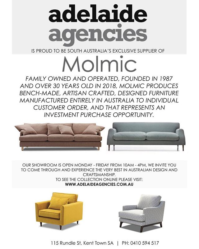 We are proud to be Adelaide's only supplier of @molmic_sofas. #adelaide #interiordesign #interiorstyle #adelaidestyle