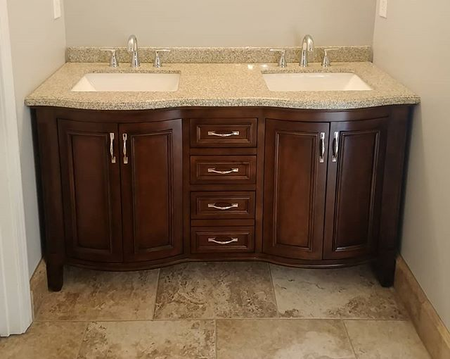 """Thanks to @iib_stone for customizing this countertop to fit a 60"""" alcove that wasn't really 60"""". They are the best stone & quartz supplier in Atlanta, hands down!  #vanity #masterbath #doublevanity #bathroomsink #culturedgranite"""