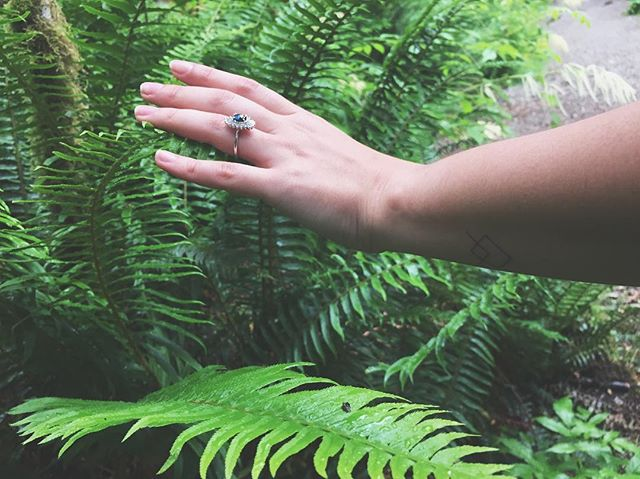 I made sim take this pic exactly one year ago even though we both felt it was super extra and dorky and kind of cringey but hey, it's not every day you get engaged in a verdant forest, and ferns are so hot right now. @heidigibsondesigns