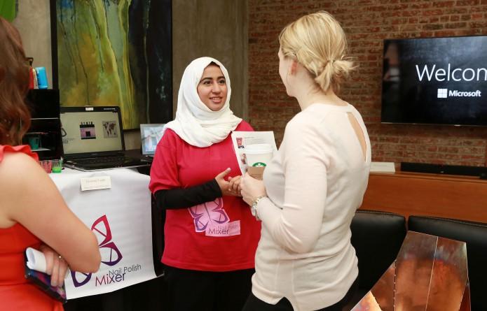 Alaa Abdulraheem photographed alongside her nail polish mixer.