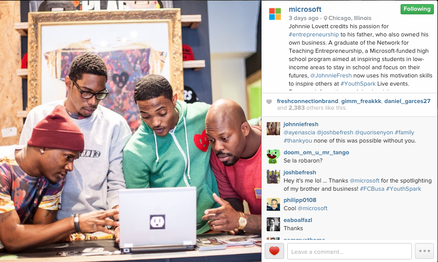 Microsoft Instagram Page 2015 | Fresh Connection Brand circa 2014 at Leaders Chicago pop-up shop. Pictured left to right, Kenny Kinder, Johnnie Lovett, Joshua Gadson, and Quori Senyon.