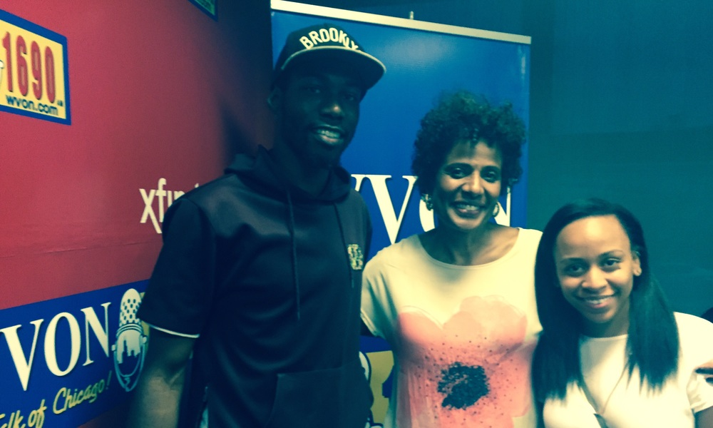 Johnnie Fresh, Robin Robinson, and Atina at WVON Chicago studios