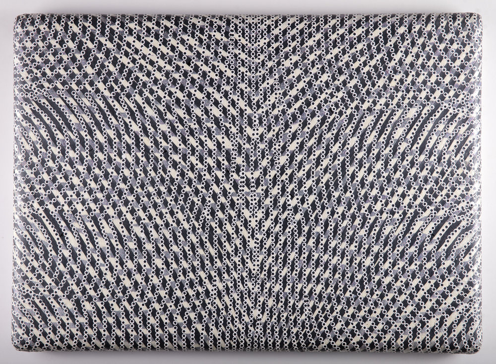 White Noise In A White Room, 2018   Acrylic, glitter and cut painted paper on canvas over shaped panel, 18.5 x 25.5 inches
