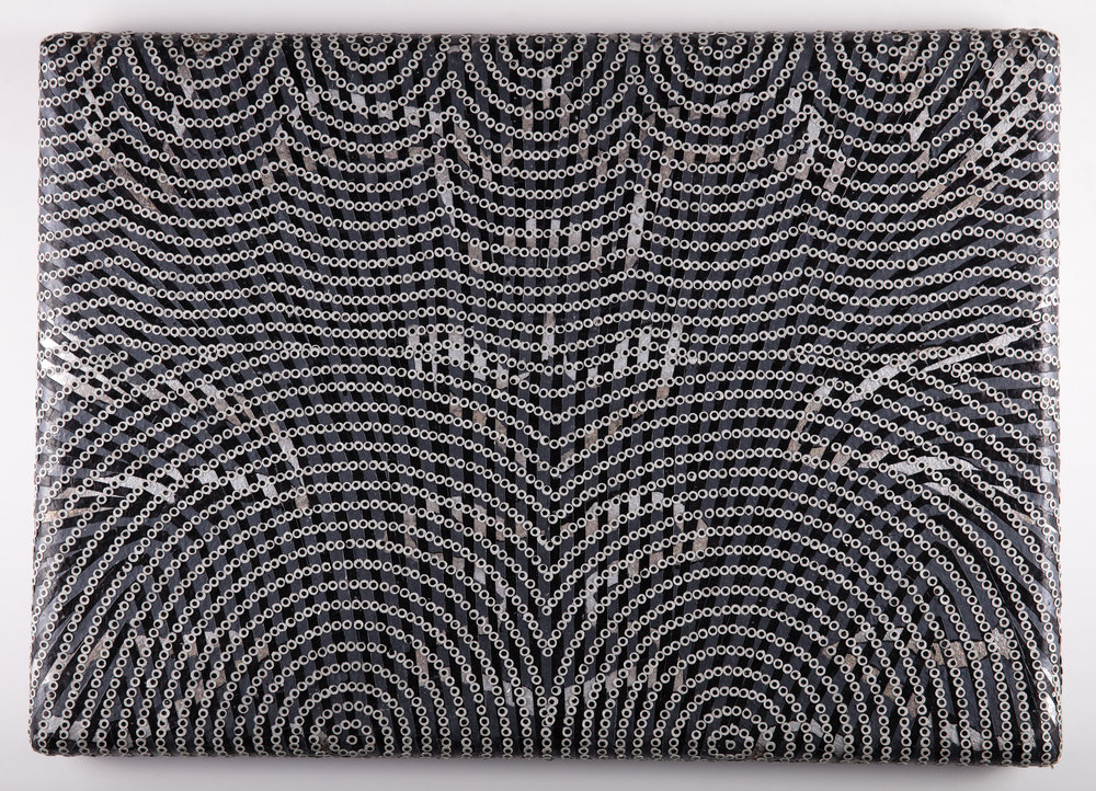 Black Veil, 2019   Acrylic, embossed metallic paper, and cut painted paper on canvas over shaped panel, 18.5 x 25.5 inches