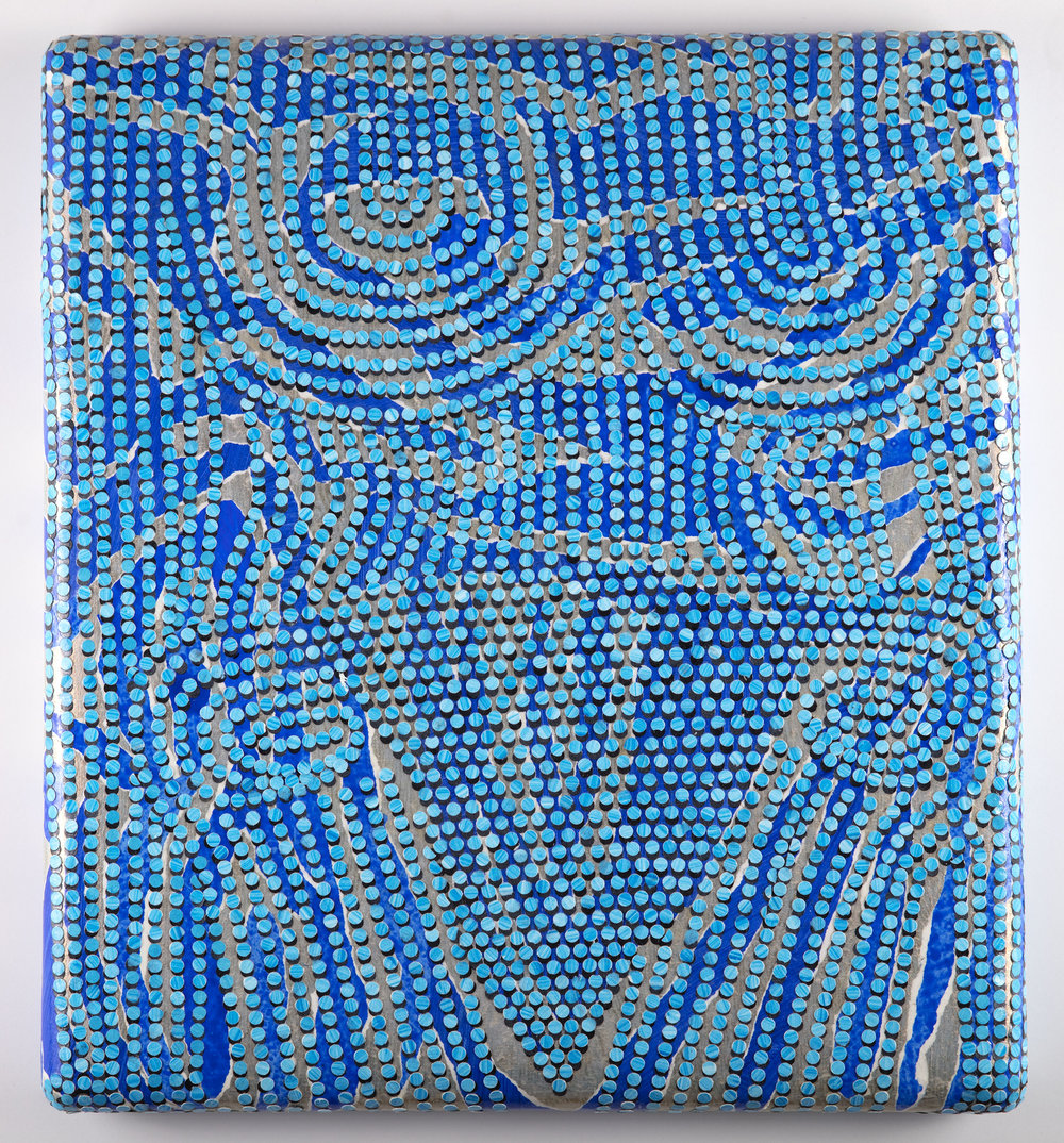 Brujazul, 2017   Acrylic and cut painted paper on canvas over shaped panel, 17.5 x 19.5 inches