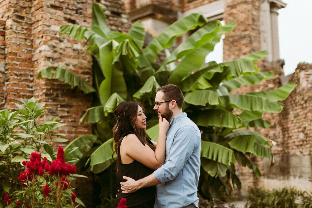 Edgy Meets Tropical Engagement Session at Holliday Park Indianapolis Indiana