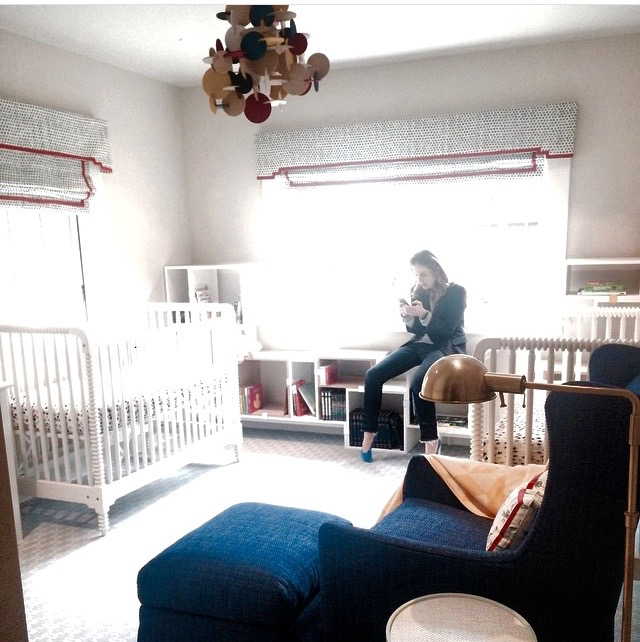 A little look into an installation day of a nursery for twin boys due this week! Designer included in package.