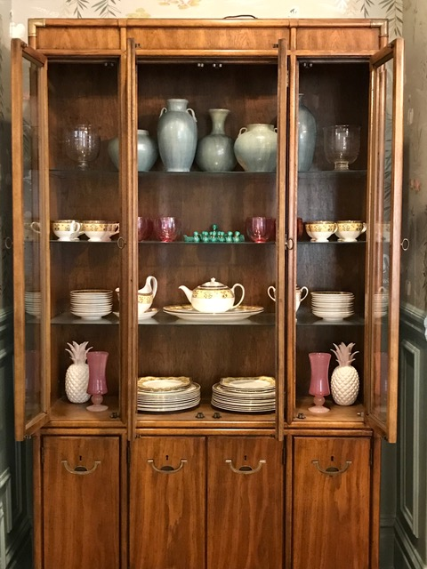 "Everyone loves a good ""shelfie"" -- especially when it involves beautiful china! If only everyone could style cabinets as well as our talented Maria..."
