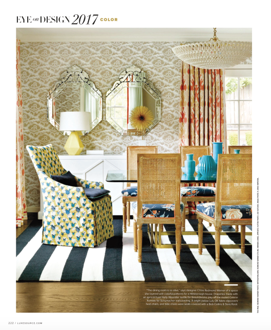 """'The dining room is so alive,' says designer Chloe Redmond Warner of a space she layered with colorful patterns for a Hillsborough house."" -- Luxe Magazine"
