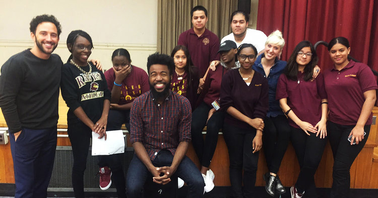 A few of our student poets with guest writer Joshua Bennett.
