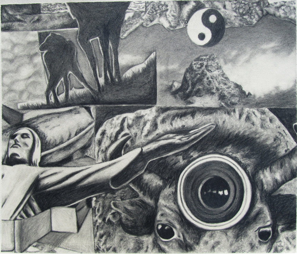 Collage   Graphite on paper  18 x 18 in