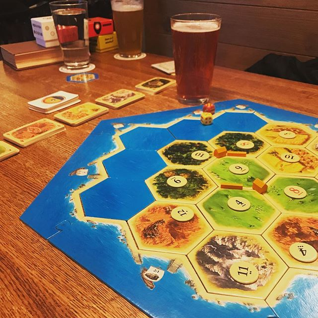 We usually like to play smaller and less well known indie games at our gatherings and game lunches — but we can't forget about the classics that inspired us in the beginning! We found a sweet two player adaptation of Settlers of Catan this week and have been playing almost every day since! . . #games #boardgames #gamenight #tabletop #tabletopgames #bgg #boardgame #catan #play #community #toy #puzzle #indiegame #gamedesign #tabletopgaming #beer #geek #gaming #brewery