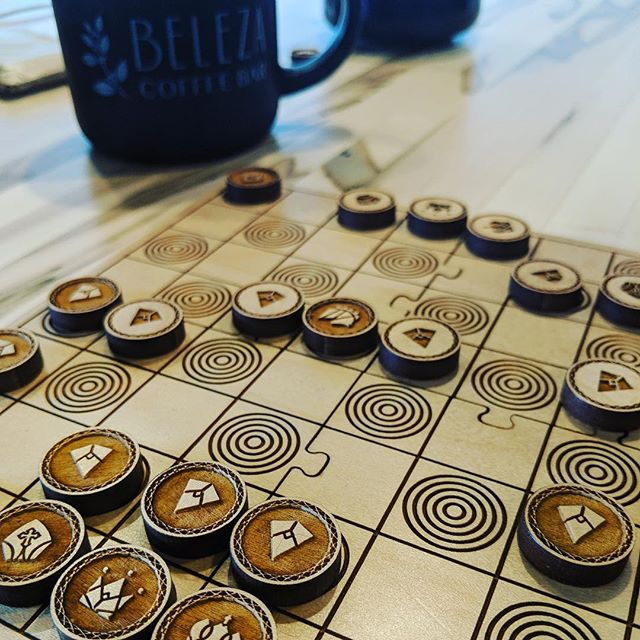 Some of our favorite weekend mornings are filled with coffee and board games. Lately we've been really into chess and playing at a new coffeeshop in our neighborhood, @belezacoffeebar !! The only thing better than their design and atmosphere is their coffee 👌🏻 . . In exploring our love for chess, we started working on this early prototype of a laser engraved wooden set. The board collapses down to a smaller canvas bag for easy travel and play on-the-go. The design is modern and the board fits together like a puzzle. Do you play chess? If so, what do you look for in a set? Let us know in the comments if this is a product you'd like to see from Stellar Factory in the future! . . #boardgames #boardgame #boardgamegeek #chess #checkmate #chessplayer #chessboard #laserengraved #moderndesign #gamedesign #game #games #tabletopgames #analog #chessset #gamer #coffee #weekend #travelchessset #toy #logic #cardgame #kickstarter #prototype #chessboard