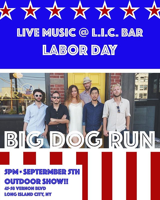 """Big Dog Run is putting the """"America"""" in Americana with the return to one of our favorite outdoor venues! With new tunes and new 'tudes, this Labor Day is sure to be anything but laborious. So whether you're with Her, or you want to make America grapes again (or whatever) let's put politics aside and celebrate this fine country with some fine country-ish music. See you there! (Free show) --------------------------------------------------- #licbar #folkmusic #lic #longislandcity #livemusic #americana #nyc #queens #guitar #fiddle #uprightbass #harmonies #feelgoodmusic #folkrock #outdoorshow #laborday2016 #newyorkcity #outdoorshow #acoustic #tunes #friends"""