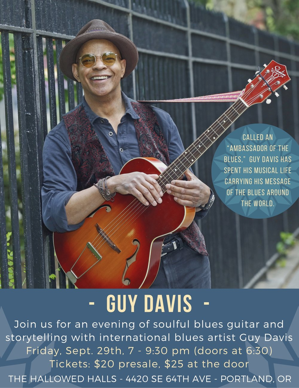 Join Guy Daivis for a night of blues at The Hallowed Halls in Portland, OR.