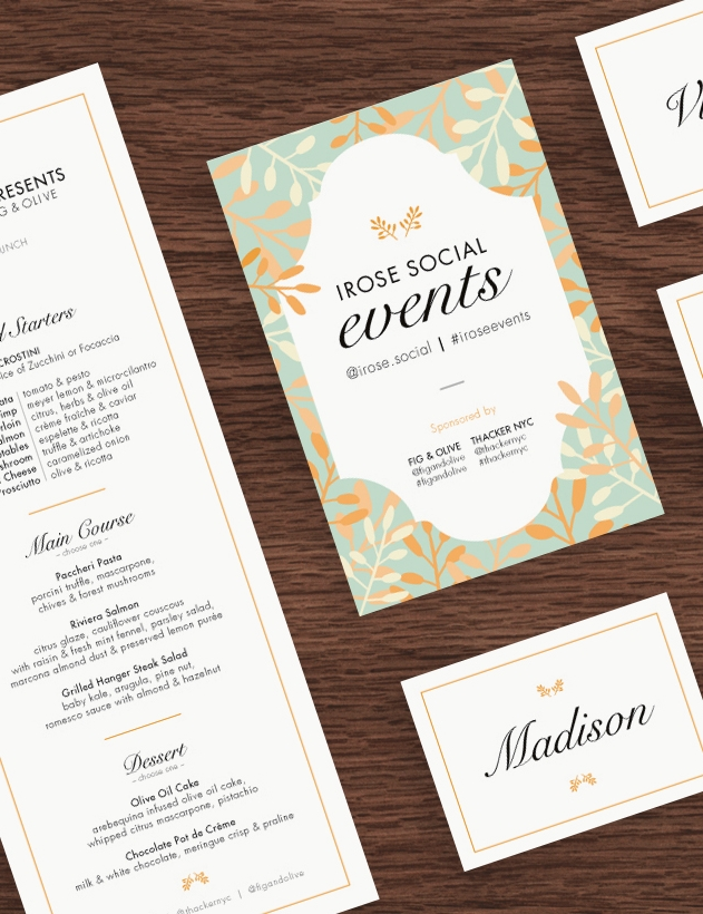 Restaurant Menu | Event Postcard | Name Tag
