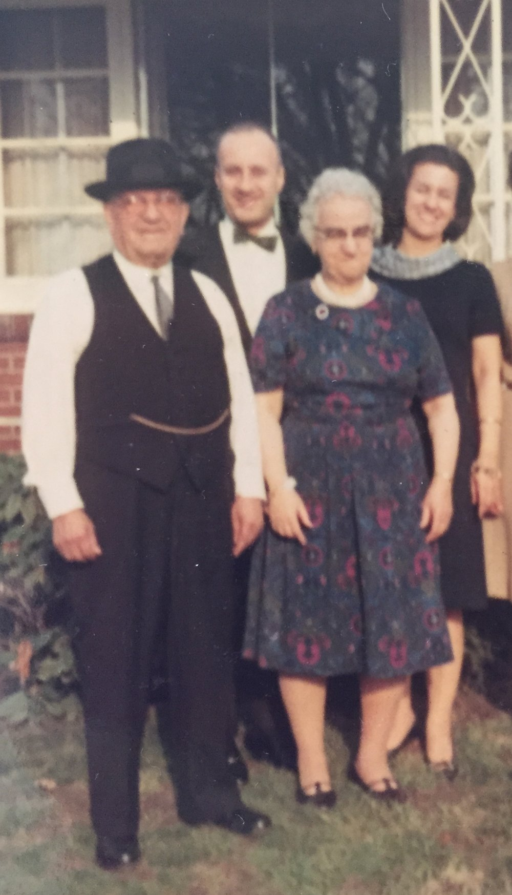 "From left to right: - Nicola Romito - Samuel Lioon (my grandfather, ""Pap Pap"" who was born in Lebanon)  - Jennie Romito  - Jacqueline Romito Lioon (my grandmother, ""Nonna"")"