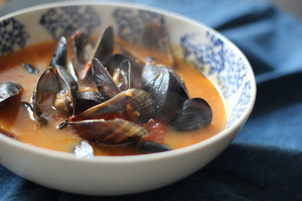 Ginger Curry Mussels