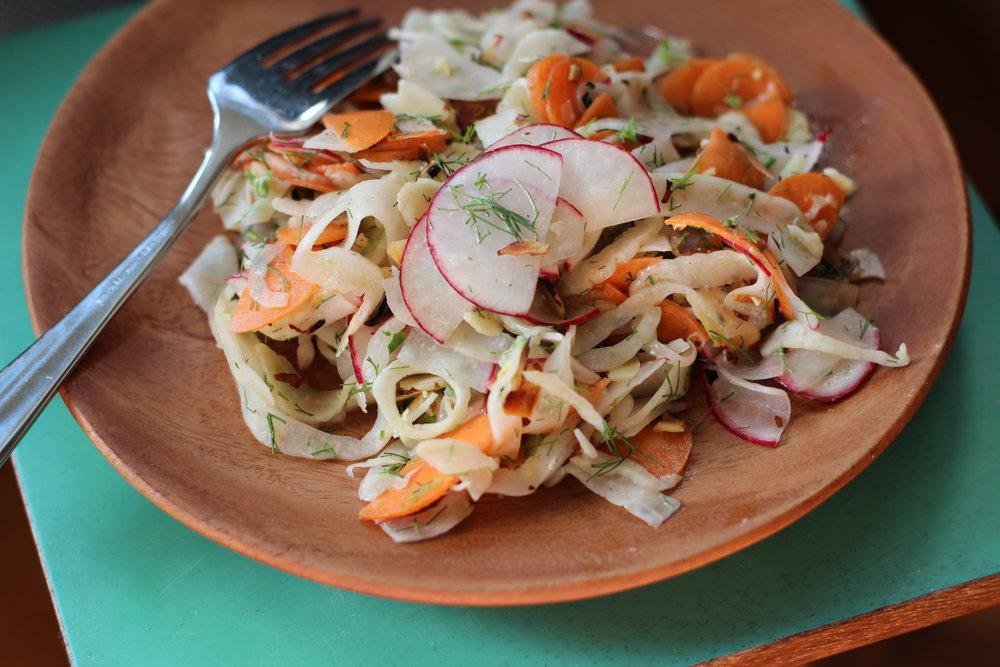 shaved carrot, radish, and fennel salad with lemon tahini vinaigrette