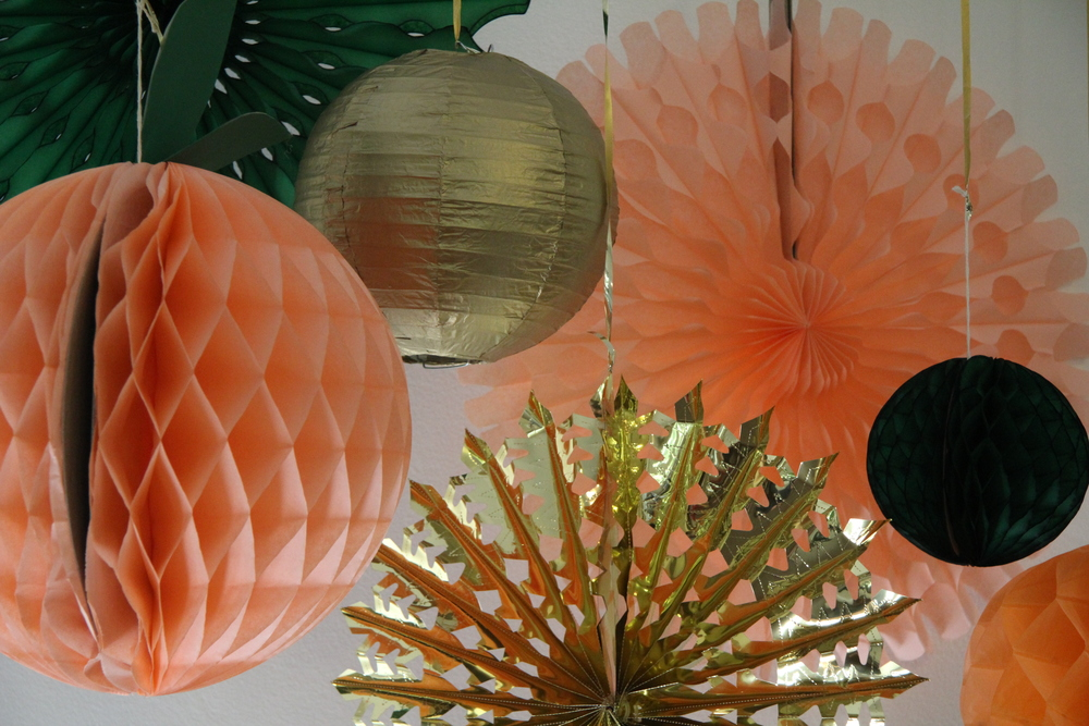 peach gold honeycomb balls paper fans
