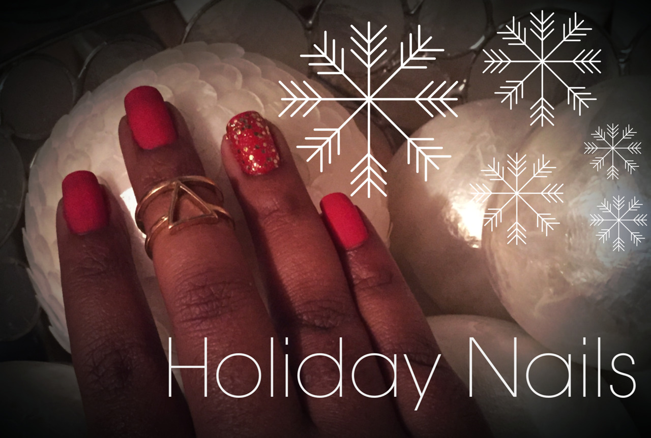 Red matte and gold sparkles. Happy Holidays! xo -A