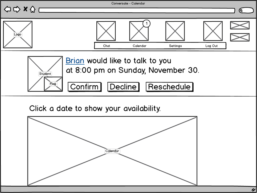 Early wireframe attempt to solve the scheduling challenge.