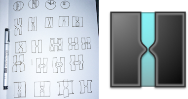The Timer-in-H logo I designed for our company, Hedron, with thumbnail sketches.