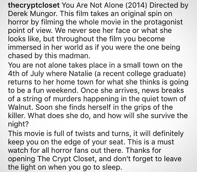 Fantastic review by @thecryptcloset. Have a review of YOU ARE NOT ALONE that you would like to share? Send to notalone2013@gmail.com or send a pm.