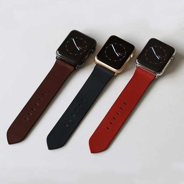 Our three Crispin hides make excellent watch straps: Espresso, Deep Sea, and Vermilion Red straps on 42mm Apple Watch faces.