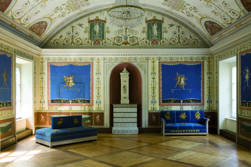 Der blaue Saal im Ismaninger Schloß. Foto: Schloßmuseum.