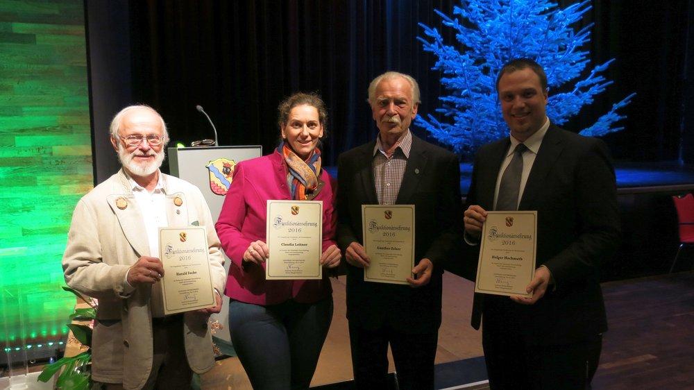 Verdiente Ehrenamtliche (v. l.): Harald Focke, Claudia Leitner, Günther Zelzer und Holger Hochmuth.