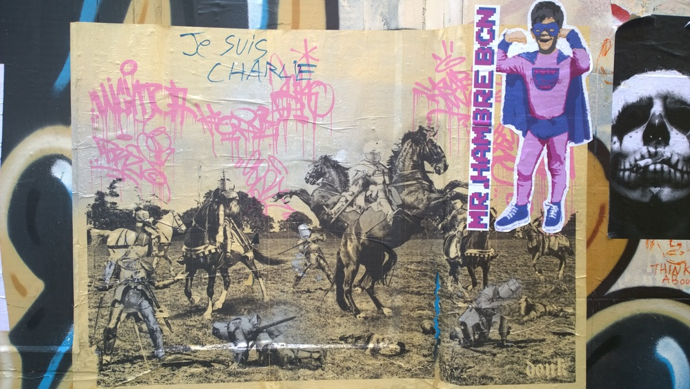 "Historyland  - Original paste up    'Photography mash up featuring warriors on horsback in medieval armour. Look carefully and you'll see Donk's son laying on the floor asleep in the foreground. ""It's a battle for an uncertain future"" explains Donk. ""I love the whole idea that we are just passing through.. once there will have been a big field where we are now"". The pink graffiti tags on the image also represent transience yet in an altogether more urban setting.'"