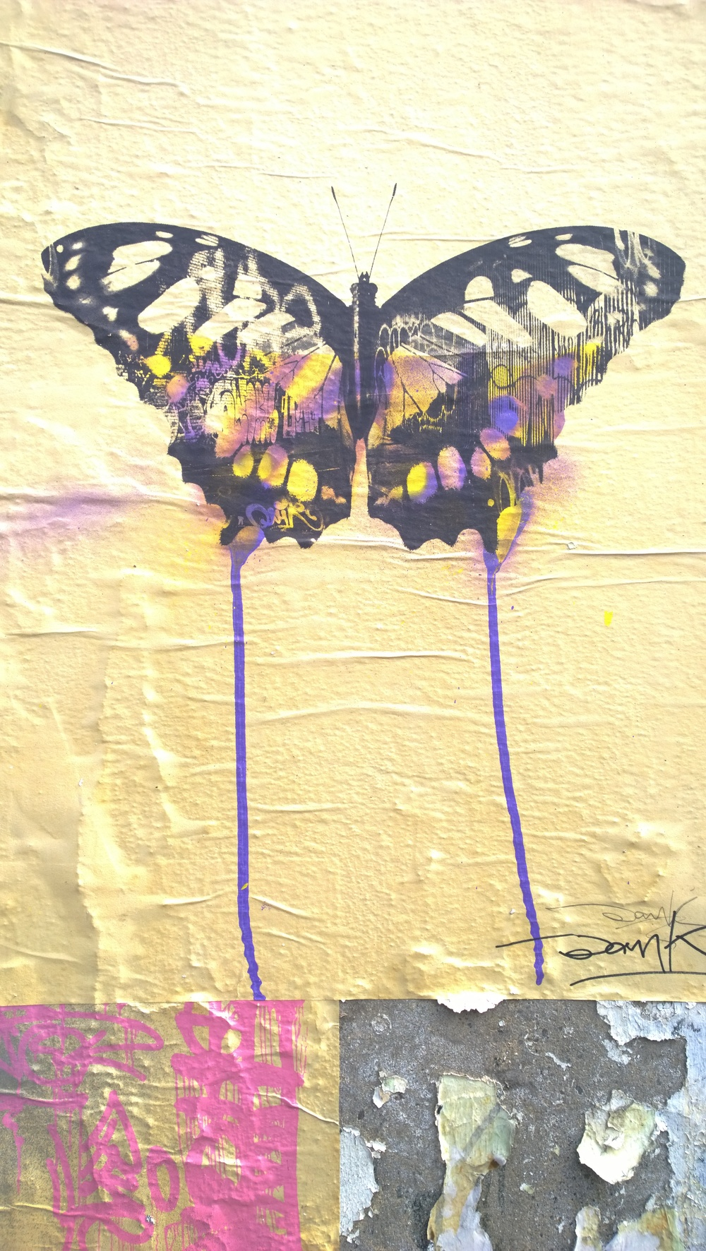 "The Butterfly  - Original paste up  - Toynbee Street ''A double exposure of a butterfly & the street art on Braithwaite Street. Combined the picture represents mortality ""it's the idea of a limited lifespan"" explains Donk. ""Graffiti has a limited lifespan and the butterfly lives for about a month and I just thought it was an interesting parallel to explore between the butterfly and the existence of graffiti."""