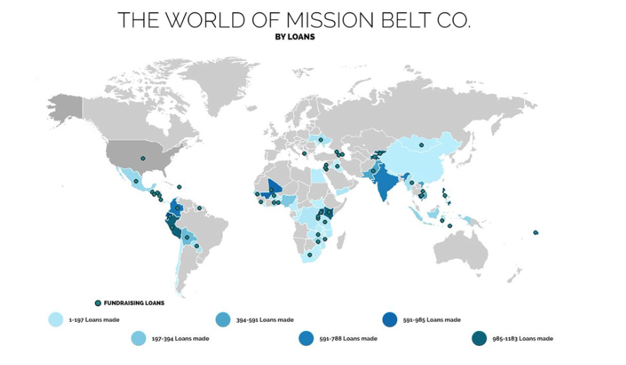 Here is a map showing all the areas that have been helped by Mission Belt Co and Kiva