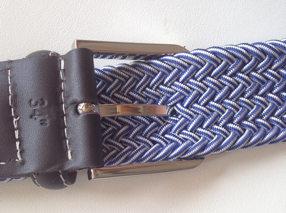 The inside of the belt being pushed through the elastic raylon