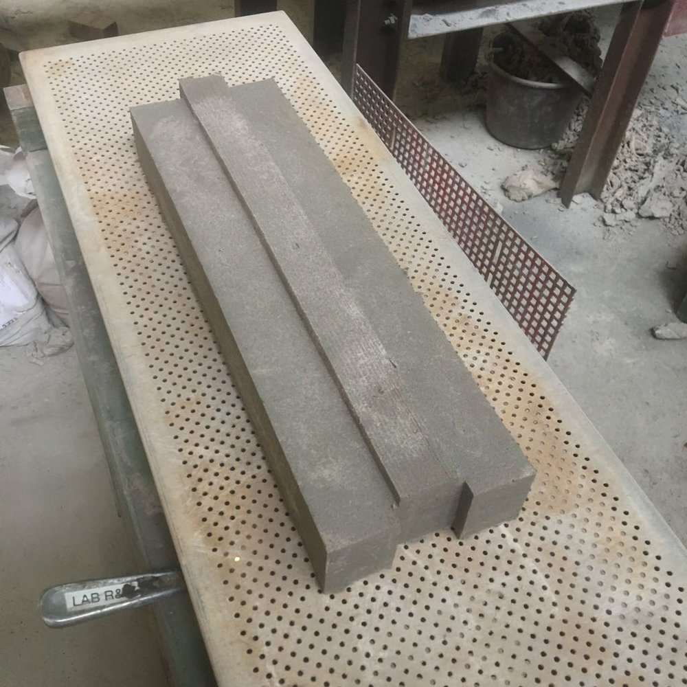 WasteBasedBrick dry stacking in the making